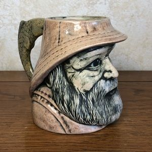 1982 hand painted sea captain fishing mug